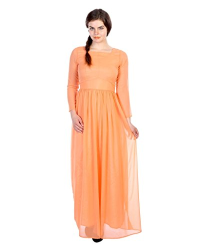 JAMES-SCOT-Beautiful-Square-Neck-Full-Sleeves-Solid-Peach-Colour-Maxi-long-Dress-For-Women