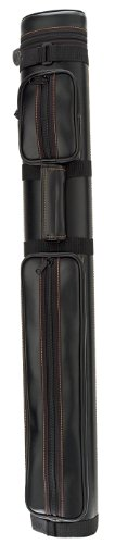 Pro Series PS922V Black Leatherette Pool Cue Case With Contrast Stitching, Black/Brown