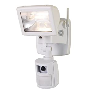 Cooper Lighting MAC100W 110-Degree 100-Watt Motion-Sensing Floodlight with Security Camera and Microphone, White