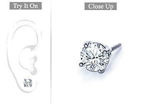 Fine Jewelry Vault SCMERPT4RD100D Mens Platinum - Round Diamond Stud Earring - 1.00 CT. TW.