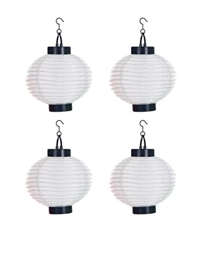 Pure Garden Set of 4 LED Outdoor Solar Chinese Lanterns, White