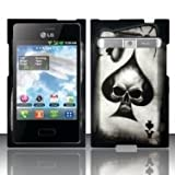 LG Optimus Logic L35g / Dynamic L38c Spade Skull Cover (Straight Talk/Net 10) + Free TRENDE Gift Box