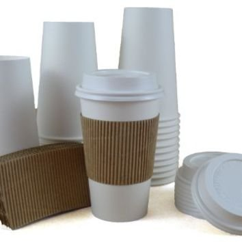 100 Paper Coffee Cup/Disposable Hot Cup 16 oz. WHITE with 100 Cappuccino Lids and 100 Sleeves (16oz Coffee Cups 100 compare prices)