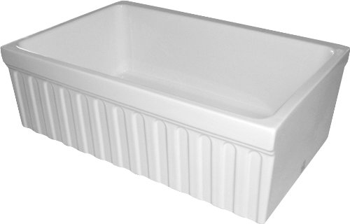 Whitehaus WHQ330-WH Farmhaus Quatro Alcove 30-Inch Reversible Fireclay Sink with Fluted Apron