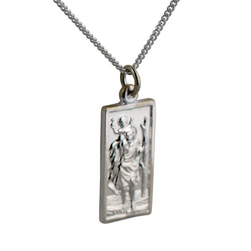 Silver 26x13mm rectangular St Christopher with Curb chain 18 inches