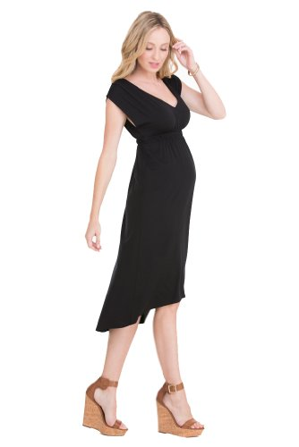 Ingrid & Isabel Empire High-Low Maternity Dress - Black - X-Small front-851896