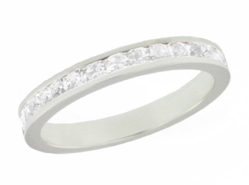 Silver White Crystal Eternity Stacking Ring -