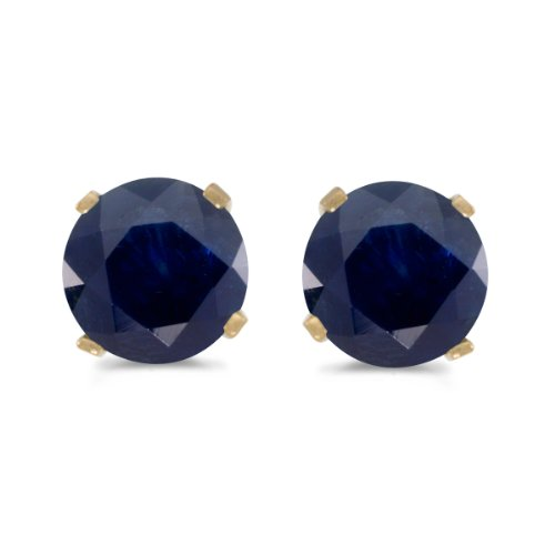 5-mm-Natural-Round-Sapphire-Stud-Earrings-Set-in-14k-Yellow-Gold
