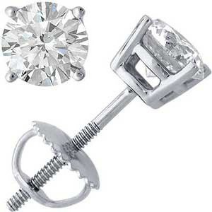 3 Ct. Diamond Stud Earrings 14k White Gold, H-I, VVS2