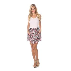 Stanzino Women's Floral Pocket Mini Skirt RED M