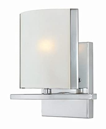 Lite Source LS-16291C/FRO Panchali 1-Lite Wall Lamp, Chrome with Frosted Glass Shade