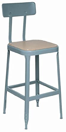 "Lyon BB1714 All Welded Pressed Wood Seat Stool with Back, Black Rubber Feet and Steel Glide, 18"" Height, 400 lbs Capacity, Wedgewood Blue, (Pack of 2)"