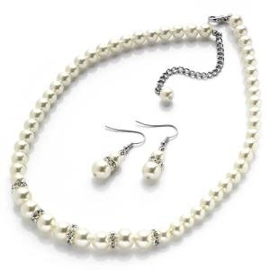 New Ladies Cream Pearl Glass Jewellery Bridal Set Cheap