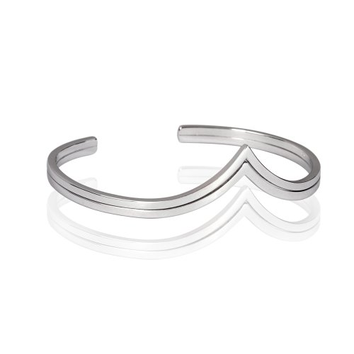Fashion Plaza Women's 925 Sterling Silver Heartshape Two Row Cuff Bangle Bracelet Weights 11.9g Expandable Y31
