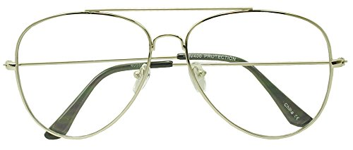 sunglass-stop-oversize-round-double-bar-clear-lens-metal-aviator-glasses-silver-60