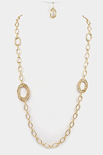 Glitz Finery Hammered Oval Station Long Necklace Set (Matted Gold)