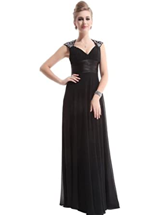 Ever Pretty Chiffon Sexy V-neck Black Beach Wedding Dress 09672, HE09672BK06, Black, 4US