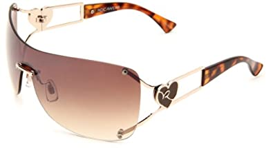 Rocawear Women's R417 GLD Shield Sunglasses,Gold Frame/Brown Gradient Lens,One Size