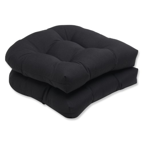 Pillow Perfect Wicker Seat Cushion with Black Sunbrella Fabric, Set of 2 photo