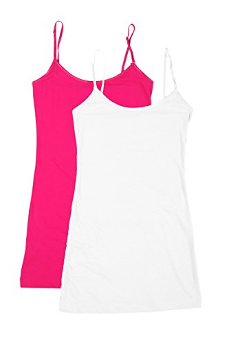 RT1002 PK Ladies Adjustable Spaghetti Strap Long Tank Top 2Pack - White/Hot Pink S (Hot Pink Long Tank Top compare prices)