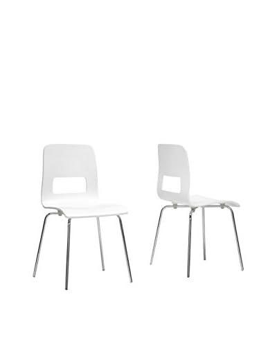 Baxton Studio Set of 2 Greta Dining Chairs, White