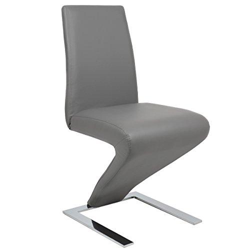Goplus-PU-Schwingstuhl-Esszimmerstuhl-Freischwinger-Stuhl-bequeme-Polsterung-Stuhl-Designerstuhl-3-farben-Grau