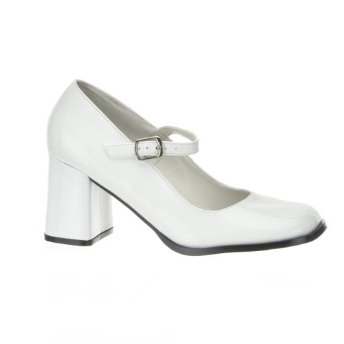 Wedding Shoes: GOGO 3 Inch Block Heel Mary Jane Pump Shoes White Patent Pleaser-Pleaser Wedding Shoes-Pleaser Wedding Shoes: GOGO 3 Inch Block Heel Mary Jane Pump Shoes White Patent Pleaser-Pump Wedding Shoes