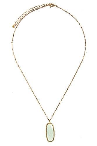 Karmas Canvas Round Rectangle Semi Precious Stone Pendant Necklace (Mint) front-1054145