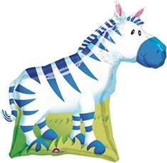 "Zebra Jungle Animal Shape 30"" Balloon Mylar Birthday Party Zoo Safari Circus"