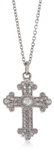 "Kc Designs ""Faithfully Yours"" Diamond 14K White Gold Medium Byzantine Cross, 16"""