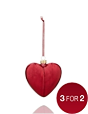 Acid Wash Glass Heart Christmas Tree Decoration
