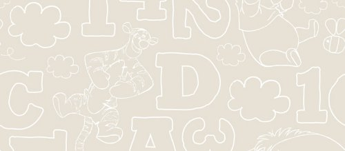 Disney Winnie The Pooh 123 Numbers Letters Children'S Kids 10M Wallpaper Roll (Stone Df70699) front-903892