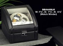 Genuine Black Leather Two Watch Winder-Executive Gift