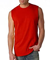 Gildan Adult Ultra CottonTM Sleeveless Shooter T-Shirt LARGE Red