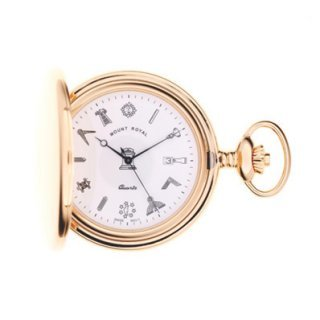 Mount Royal - Masonic Gold Plated Quartz Full Hunter Pocket Watch - G409PQ - (WW1713)