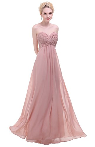 Esvor Sweetheart Bridesmaid Chiffon Prom Dress Long Evening Gown Blush 4