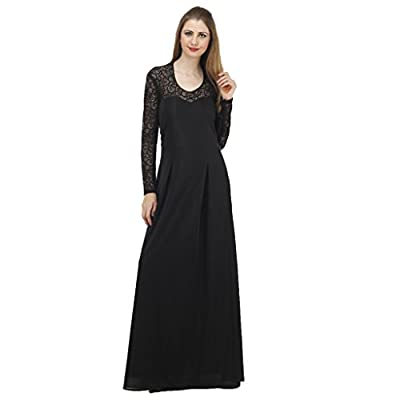 JAMES SCOT- Prestige Scoop Neck Full Sleeves Solid Black Colour Maxi long Dress For Women