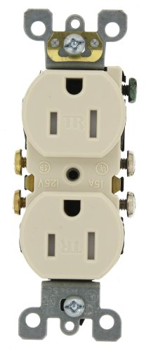 Leviton T5320-St 15 Amp, 125 Volt, Tamper Resistant, Duplex Receptacle, Residential Grade, Self Grounding, Light Almond