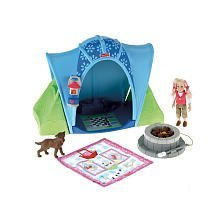 Fisher Price Loving Family Camping Tent Playset with 4 Inch Tall Sister Doll, Pet Dog, Blue Tent, Campfire, Lantern and Sleeping Bag by Fisher-Price (Fisher Price Loving Family Pet compare prices)