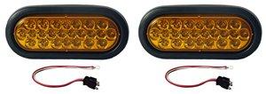 """Set of 2 6"""" Oval Amber Strobe Lights 24 Diode LED w Grommets"""