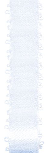 Offray Feather Edge Double Face Satin Craft Ribbon, 3/16-Inch Wide by 50-Yard Spool, White