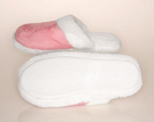 Image of Lady's Suede Fur Trimmed Scuff Slipper Pink - Medium (7-8) - Pink - Medium (7-8) (B0050VNHN6)