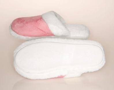 Lady's Memory Foam Suede Fur Trimmed Slipper Pink