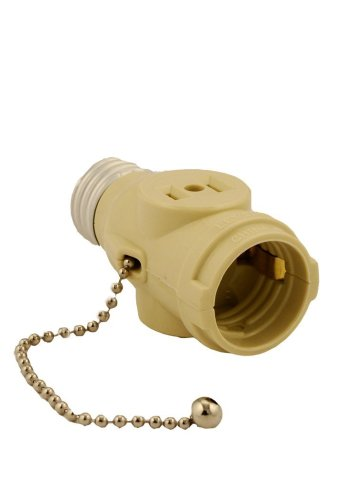 Leviton 1406-I 660 Watt, 125 Volt, Two Outlet With Pull Chain Socket Adapter, Ivory