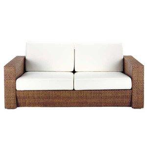 アジアン家具 3人以上用ソファ 籐(ラタン)ソファー A400 合成皮革張り 2色対応 ホワイト