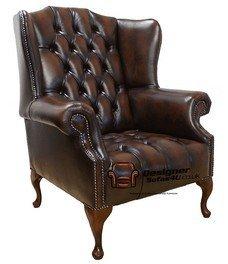 Mallory Poltrona Chesterfield Queen Anne con bottoni sulla seduta, poggiacapo piatto, schienale alto, made in UK, colore: marrone antico