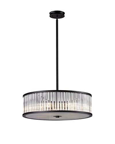 Artistic Lighting Braxton 5-Light Pendant with Glass Shade, Aged Bronze