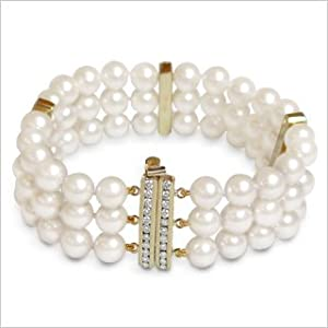 6.5x7mm A+ Quality Olivia Japanese Akoya Triple Strand Cultured Pearl Bracelet - 7 inches