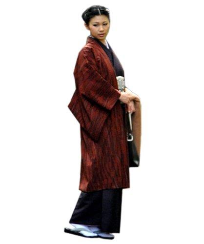 [京都きもの町] 長羽織 よろけ墨柄 赤銅色×黒色