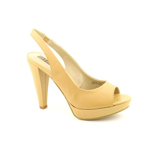 Ellen Tracy Nights Womens Size 6 5 Nude Peep Toe Leather Platforms Shoes